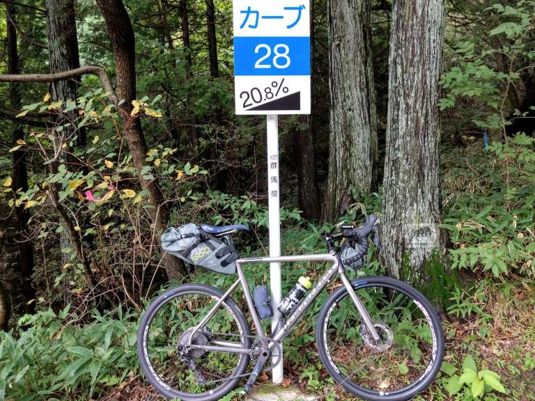 Titanium bicycles on front of 20% steep road sign
