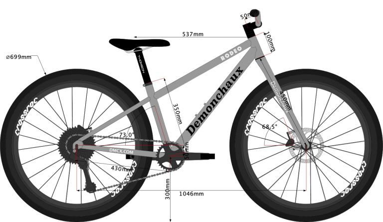 Sketch of 650B wheel sized MTB